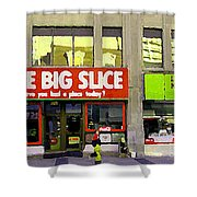 The Big Slice Pizzeria Downtown Toronto Restaurants Doner Kebob House Street Scene Painting Cspandau Shower Curtain