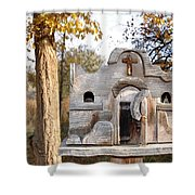 The Birdhouse Kingdom - The Purple Finch Shower Curtain