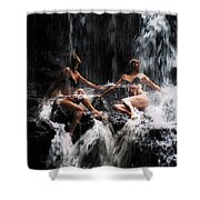 The Birth Of The Double Star. Anna At Eureka Waterfalls. Mauritius. Tnm Shower Curtain