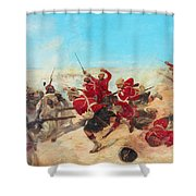 The Black Watch At The Battle Shower Curtain by Henri-Louis Dupray