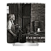 The Blacksmith 2 Monochrome Shower Curtain