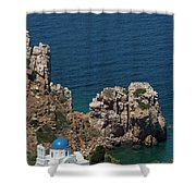 The Blue Domed Church At The Water S Shower Curtain