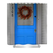 The Blue Door With Bittersweet Wreath Shower Curtain