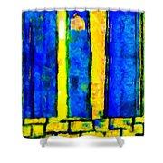 The Blue Doors Of La Rue Des Fauves Shower Curtain