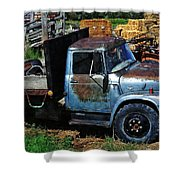 The Blue Farm Truck Shower Curtain