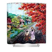 The Blue Fence        Sold Shower Curtain