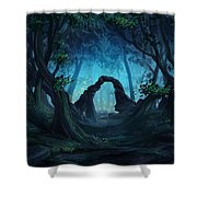 The Blue Forest Shower Curtain by Cassiopeia Art
