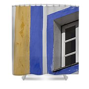 The Blue Framed Window Shower Curtain