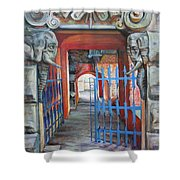 The Blue Gate Shower Curtain