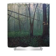 The Blue-green Forest Shower Curtain
