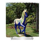 The Blue Horse Shower Curtain