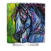 The Blue Horse On Green Background Shower Curtain