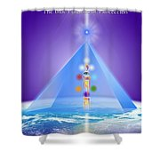 The Blue Pyramid Of Protection Shower Curtain
