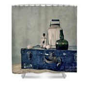 The Blue Suitcase Shower Curtain