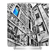 The Blue Window In Venice - Italy Shower Curtain