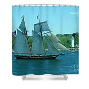 American Tall Ship Sails Past Mcnabs Island Shower Curtain