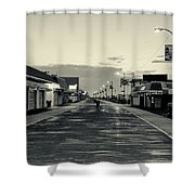 The Boardwalk Before Sunrise In Sepia Shower Curtain