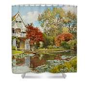 The Boathouse Shower Curtain by Alfred Parsons