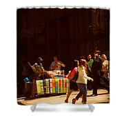 The Bookseller - New York City Street Scene - Street Vendor Shower Curtain