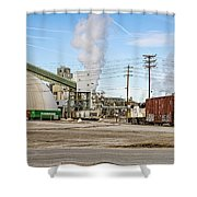 The Borax Plant And Locomotive Shower Curtain