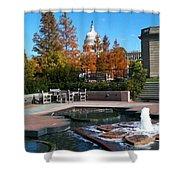 The Botanic Garden Fountain Shower Curtain