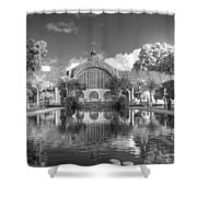 The Botanical Building In Black And White Shower Curtain