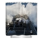 The Bow Of Uss Cowpens Plows Shower Curtain