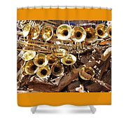 The Brass Section Shower Curtain