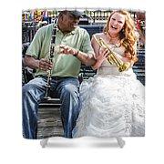 The Bride Plays The Trumpet- Destination Wedding New Orleans Shower Curtain