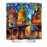 The Bridges Of Amsterdam - Palette Knife Oil Painting On Canvas By Leonid Afremov Shower Curtain
