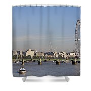 The British Airways London Eye And Westminster Bridge In London England Shower Curtain