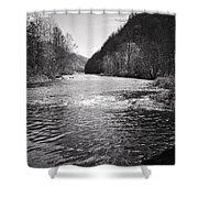 The Broad River 1 Bw Shower Curtain