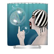 the Bubble man Shower Curtain by Mark Ashkenazi