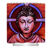 The Buddha In Red And Gold Shower Curtain