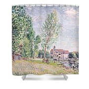 The Builder's Yard At Matrat Moret-sur-loing Shower Curtain by Alfred Sisley
