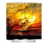 The Burning - Digital Paint Shower Curtain