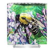 The Busy Bee And The Lilac Tree Shower Curtain