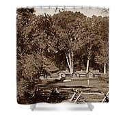 The Cabins Shower Curtain by Skip Willits