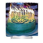The Cake Is On Fire Shower Curtain