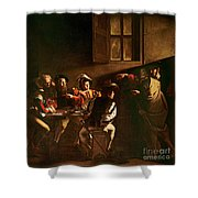 The Calling Of St Matthew Shower Curtain by Michelangelo Merisi o Amerighi da Caravaggio