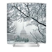 The Capitol In Snow Shower Curtain