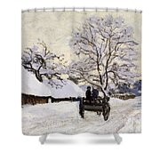 The Carriage- The Road To Honfleur Under Snow Shower Curtain