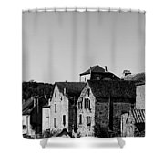 The Castle Above The Village Panorama In Black Nd White Shower Curtain