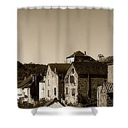 The Castle Above The Village Panorama In Sepia Shower Curtain