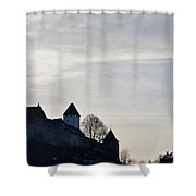 The Castle In Shadow Shower Curtain
