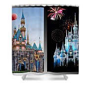 The Castles Of Disney 2 Panel Vertical Shower Curtain