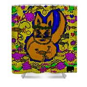 The Cat And His Fish Popart Shower Curtain
