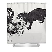 The Cat And The Cock Shower Curtain