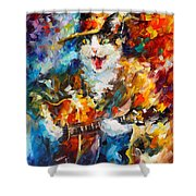 The Cat And The Guitar Shower Curtain