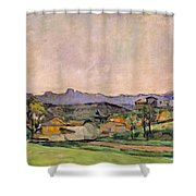 The Chaine De Letoile With The Pilon Du Shower Curtain by Paul Cezanne